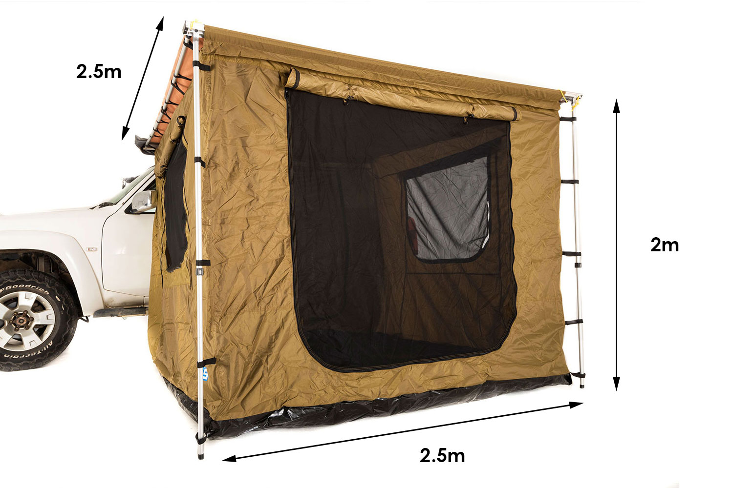 Kings Tent for 2.5x2.5m Awning | Waterproof | Fully Enclosed | Bucket Floor