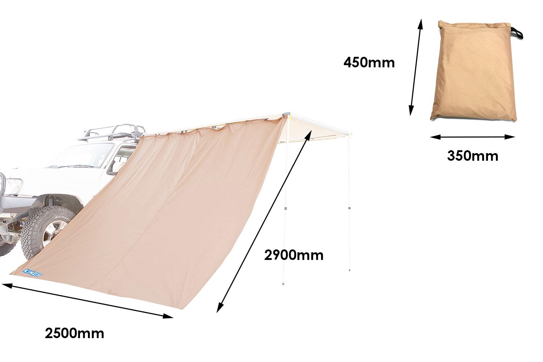 Adventure Kings Awning Side Wall | Waterproof | Fits 2x2.5m, 2.5x2.5m & 2x3m Awnings
