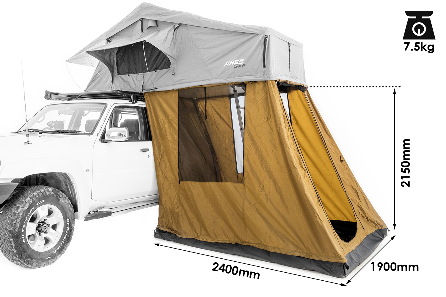 4-Person Annex for Kings Tourer Rooftop Tent   Fully Waterproof   Incl. Enclosed Floor