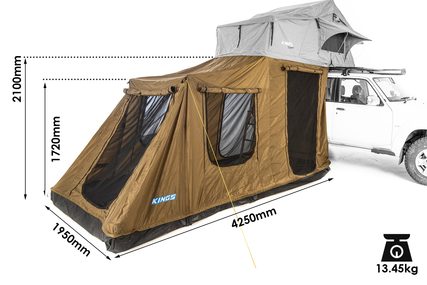 6-Person Annex for Kings Tourer Rooftop Tent | Fully Waterproof | Incl. Enclosed Floor
