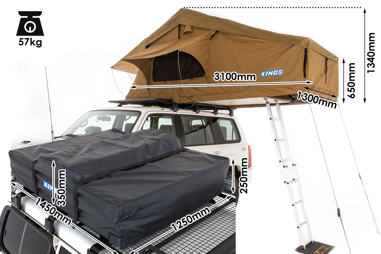 Kings Tourer Rooftop Tent | Fold-Out Rooftop Tent | 75mm Mattress | 3 min setup | 2.5m x 1.4m Bed